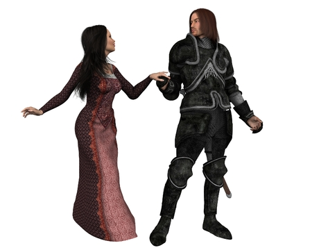 mediaeval: Illustration of an armoured knight and his lady in Mediaeval dress, holding hands, 3d digitally rendered illustration