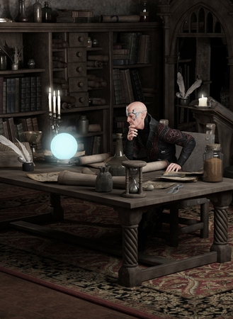 magical equipment: Fantasy illustration of a sorcerer sitting in his study consulting a blue glowing magic orb, 3d digitally rendered illustration