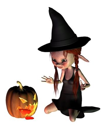 samhain: Ilustraci�n Goblin bruja y un espeluznante linterna de calabaza de halloween, 3d digital rindi�