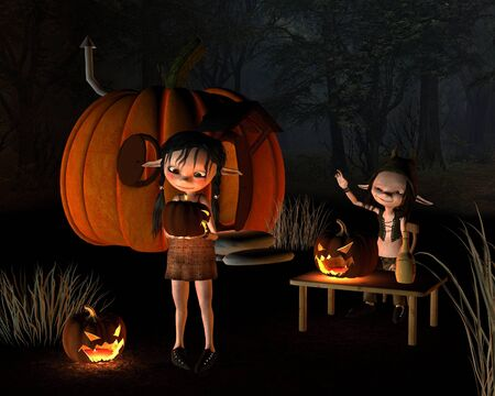 goblins: Two goblins with spooky Halloween lanterns outside a pumpkin house, 3d digitally rendered illustration