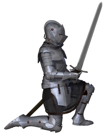 Fifteenth Century late Medieval Knight in Northern Italian Milanese Armour with sword, standing in a kneeling pose, 3d digitally rendered illustration