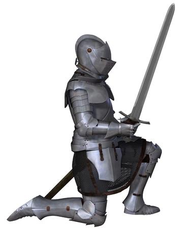 rycerz: XV wieku późnego średniowiecza Rycerz w północnej włoski Milanese Armour wojenny, stojąc w klęczącej ułożenia, 3d cyfrowo świadczonych ilustracji