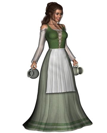 vestido medieval: Ilustración Ilustración de una chica medieval o de la fantasía taberna que sirve llevar una jarra de peltre y jarra, 3d digital rindió