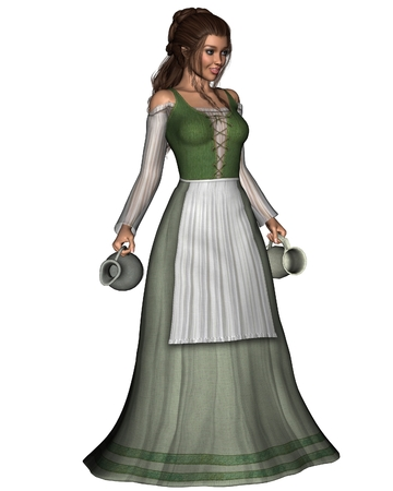 Illustration of a Mediaeval or Fantasy tavern serving girl carrying a pewter jug and tankard, 3d digitally rendered illustration Stock Photo