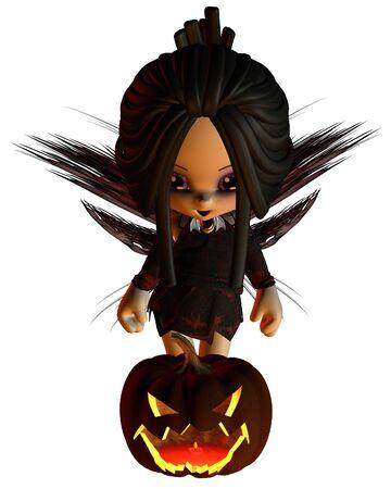 fey: Cute toon Halloween Fairy standing behind a pumpkin lantern with spooky lighting, 3d digitally rendered illustration