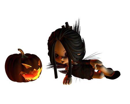 Kleiner Kobold Carving Spooky Halloween Kürbis Laternen, Mit Dunklen ...