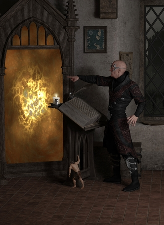 spell: Fantasy illustration of a sorcerer casting a spell to open a magic portal in his laboratory with help from a tiny homunculus, 3d digitally rendered illustration Stock Photo