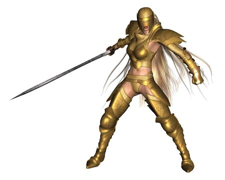 warrior pose: Illustration of a female fantasy warrior wearing golden armour, in a fighting pose, 3d digitally rendered illustration