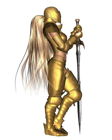 relaxed: Illustration of a female fantasy warrior wearing golden armour, in a relaxed standing pose, 3d digitally rendered illustration Stock Photo