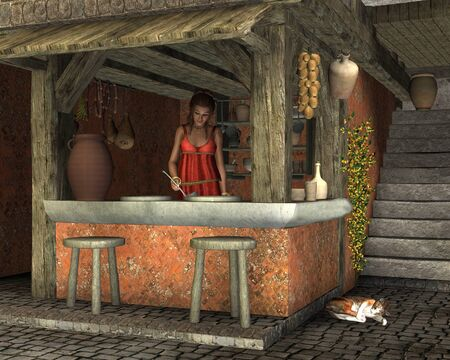 ancient roman: Illustration of a young woman preparing to serve food at an Ancient Roman caupona (cafe), 3d digitally rendered illustration