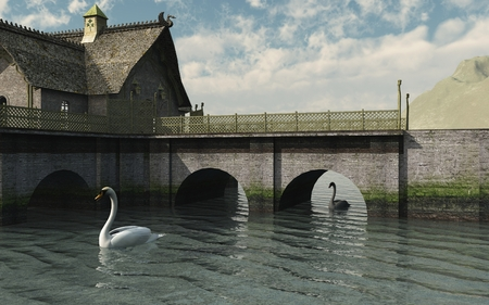 hill distant: Two swans drifting slowly under a stone bridge on a calm river in a fantasy setting, 3d digitally rendered illustration
