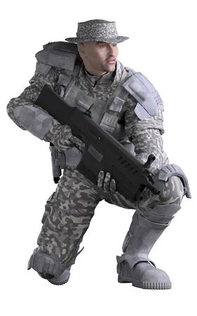 도시 위장을 착용 하 고 소총, 웅크 리고, 3d 디지털 렌더링 된 그림을 들고 미래 해양 레인저 병사의 과학 소설 그림