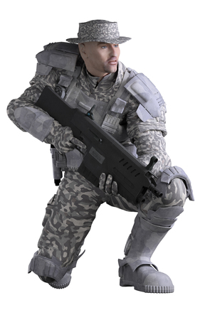 soldier with rifle: Science fiction illustration of a future marine ranger soldier wearing urban camouflage and carrying a rifle, crouching down, 3d digitally rendered illustration