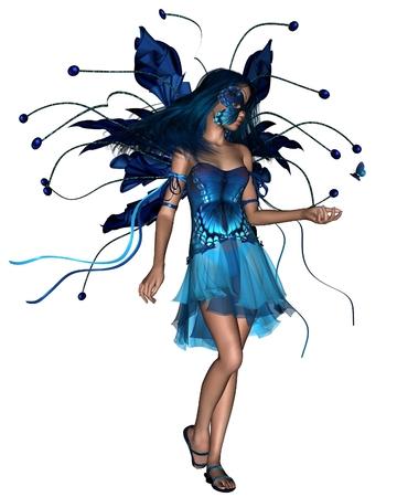 mariposa azul: Ilustración de la fantasía de una ilustración azul de la mariposa de hadas, 3d digital rindió