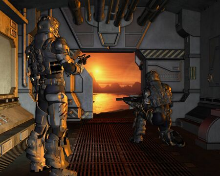 Science fiction illustration of two armoured space marines about to disembark from their spaceship onto the surface of a red planet, 3d digitally rendered illustration illustration