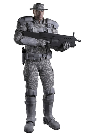 scifi: Science fiction illustration of a future marine ranger soldier wearing urban camouflage and carrying a rifle, 3d digitally rendered illustration