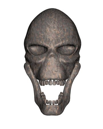 pitted: Alien skull in ancient rusted metal, front view, 3d digitally rendered illustration Stock Photo