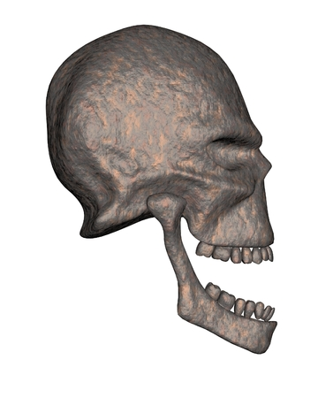 pitted: Alien skull in ancient rusted metal, side view, 3d digitally rendered illustration