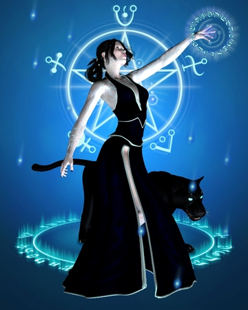 mage: Fantasy illustration of a Sorceress and her black panther summoning magic power, 3d digitally rendered illustration