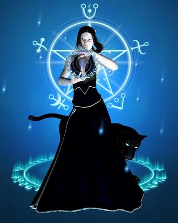 魔女と魔法の力、3 d デジタル集中黒豹のファンタジー イラスト描画図 写真素材