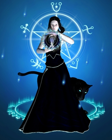 Fantasy illustration of a Sorceress and her black panther concentrating on magical power, 3d digitally rendered illustration