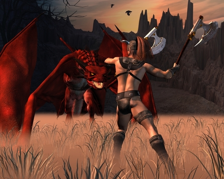 barbarian: Fantasy illustration of a Barbarian warrior fighting a red dragon, 3d digitally rendered illustration