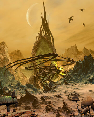 lair: Bone Dragon standing in front of its cave in a desolate landscape, 3d digitally rendered illustration