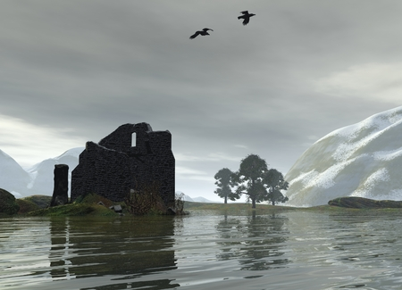 overlooking: Ruined castle on the shores of a Scottish loch overlooking the water, 3d digitally rendered illustration Stock Photo
