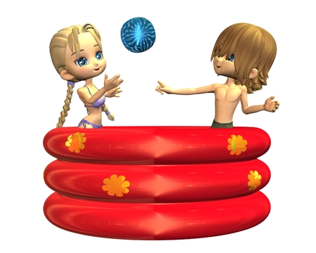 teenage girl bikini: Pair of cute toon teenagers playing with a beachball in an inflatable paddling pool, 3d digitally rendered illustration Stock Photo