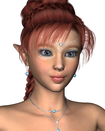 fey: Fantasy closeup portrait illustration of a pretty redheaded fairy with blue sparkling makeup and jewels, 3d digitally rendered illustration Stock Photo
