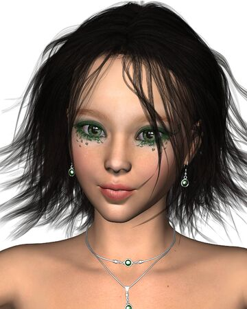 dark haired: Fantasy closeup portrait illustration of a pretty dark haired fairy with green sparkling makeup and jewels, 3d digitally rendered illustration Stock Photo