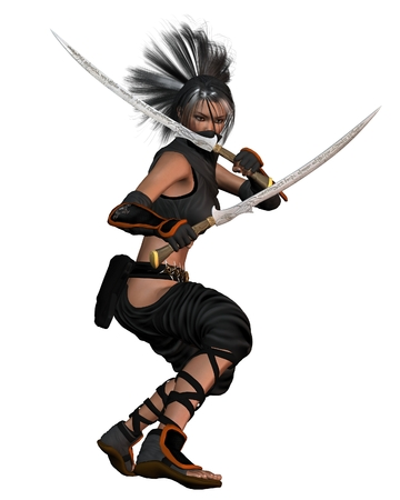 topknot: Fantasy illustration of a female ninja standing in a combat pose, holding two engraved fantasy swords, 3d digitally rendered illustration Stock Photo