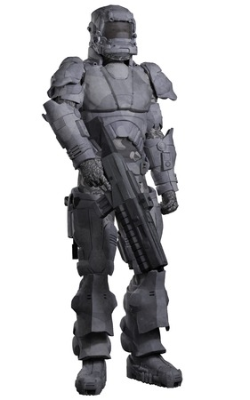 armour: Science fiction illustration of a futuristic Space Marine wearing a suit of heavy urban combat armour, 3d digitally rendered illustration