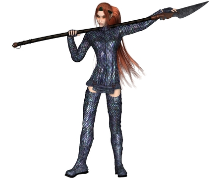 armour: Fantasy illustration of a red-haired warrior elf woman wearing dragon scale armour and holding a lance or spear, 3d digitally rendered illustration