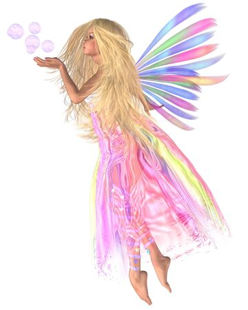 fey: Fantasy illustration of a fairy blowing a handful of pink bubbles to match her skirt, 3d digitally rendered illustration Stock Photo