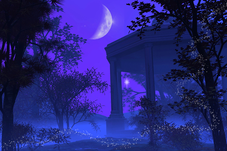 Roman or Greek temple in a fantasy moonlight scene, 3d digitally rendered illustration