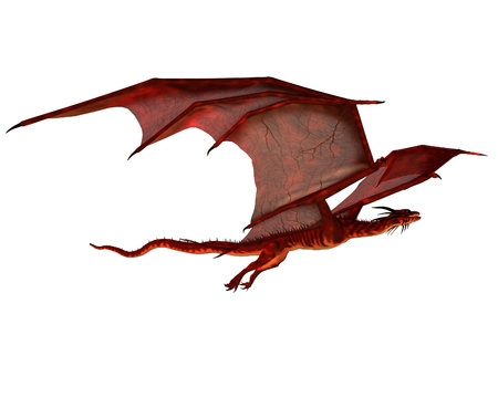 glide: Fantasy illustration of a red dragon flying, 3d digitally rendered illustration