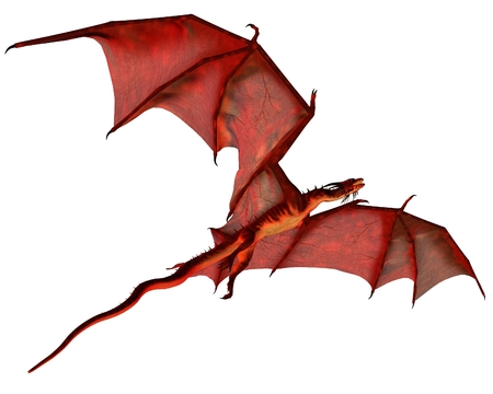 Fantasy illustration of a red dragon gliding, 3d digitally rendered illustration