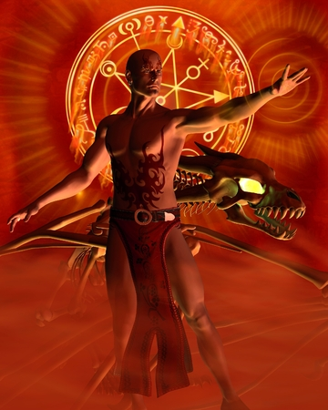 dragon tattoo: Fantasy illustration of a tattooed male sorcerer and bone dragon casting a spell, 3d digitally rendered illustration Stock Photo