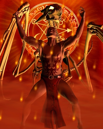 the red dragon: Fantasy illustration of a tattooed male sorcerer and bone dragon summoning magic, 3d digitally rendered illustration