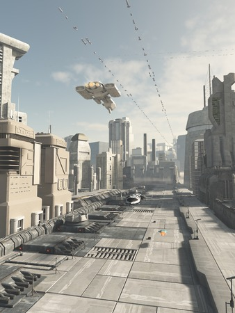 future city: Science fiction illustration of a future city street with aerial traffic overhead, 3d digitally rendered illustration