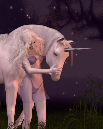 silver grass: Fantasy illustration of a mythical unicorn and beautiful woman in a moonlit forest, 3d digitally rendered illustration