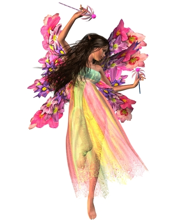 fey: Fantasy illustration of a dark-haired dancing fairy in shiny carnival dress with flower wings, 3d digitally rendered illustration