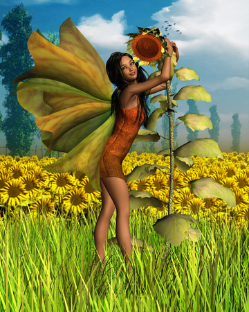 fey: Fantasy illustration of a dark-haired fairy hugging a sunflower with a background of sunflower fields and poplars, 3d digitally rendered illustration Stock Photo