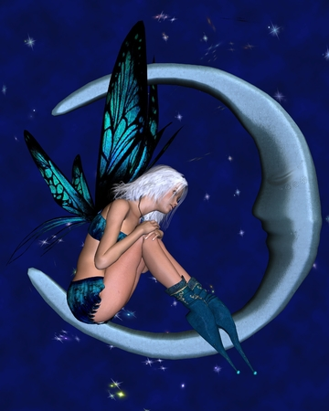 fey: Fantasy illustration of a fairy dressed in blue sitting on a silver moon with a nighttime background covered in sparkling stars, 3d digitally rendered illustration
