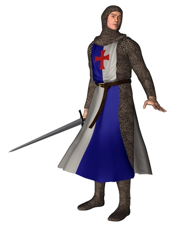 mediaeval: Illustration of a Norman or Early Medieval Knight in chain mail and blue and white tabard, 3d digitally rendered illustration