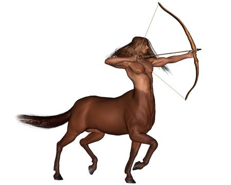 sagitario: Ilustración Ilustración de la fantasía de Sagitario, el arquero centauro que representa el noveno signo del zodíaco, 3d digital rindió Foto de archivo