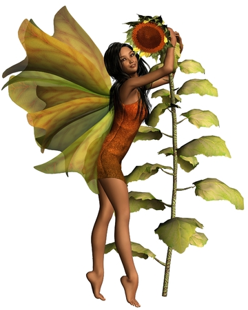 Fantasy illustration of a dark haired fairy hugging a sunflower, 3d digitally rendered illustration illustration