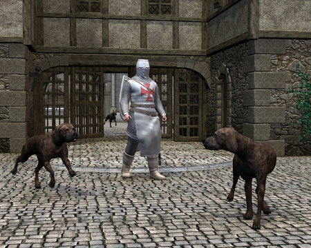 Illustration of a Medieval Templar Knight guarding a castle gateway with the help of three large guard dogs, 3d digitally rendered illustration Stock Photo