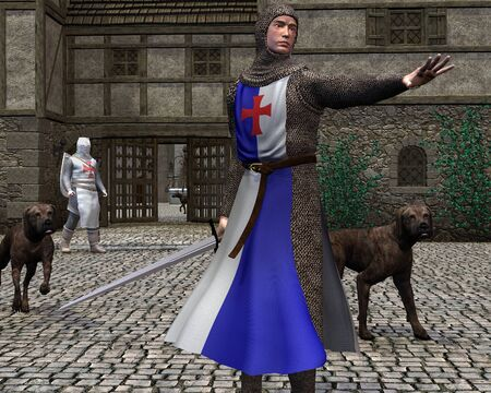 hounds: Illustration of two Norman or Early Medieval soldiers and their hounds guarding a castle entrance, 3d digitally rendered illustration Stock Photo